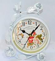 """Часы настольные """"Роза"""" с декором - 17-15-4 см - белые"""