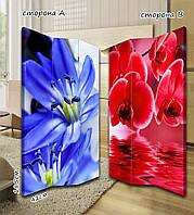 Ширма. перегородка Синие и красные цветы 185 см