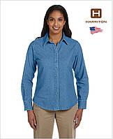 Женская джинсовая рубашка Harriton® M550W (США) Light Denim, с длинным рукавом, 100% хлопок