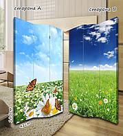 Ширма. перегородка Бабочки на ромашковом поле 185 см