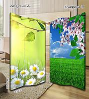 Ширма. перегородка Ромашки и цветущие вишни 185 см