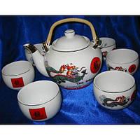 Сервиз фарфор-чайник и 6 чашек-Дракон