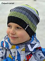 Детская шапка Арктик Лицей. Шапка х/б 1 слой. р.50-57. Т.сер, св.сер, сер+бордо, сер+салат, коричн, лилов, изумруд, синий, син+желт