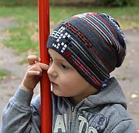 Детская шапка Арктик Тетрис, плотная осень-весна, р.50-55, (3-10 лет) св.серый