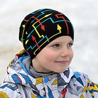 Детская шапка Арктик Компас, подросток демисезон. От 5 лет (ОГ 52-57см) Св.серый, т.серый, т.синий, черный