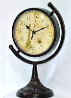 """Часы настольные """"Глобус"""" с декором - 32-20-4 см -черные"""
