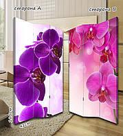 Ширма. перегородка Роскошь фиолетовых и розовых цветов 185 см
