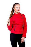 Молодежная женская куртка Леони красный (42-52)