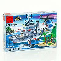 """BRICK 820 (18) """"Военный корабль"""" 614 деталей, в коробке"""
