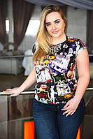 Женская футболка с рисунком большого размера