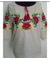 Женская блузка вышиванка из батиста  для полных Катерина  фасон  в размерах 42, 44, 46, 48, 50, 52,  54, 56 ,   купить