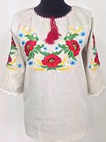 Женская блузка вышиванка из батиста  для полных Катерина  фасон  в размерах 42, 44, 46, 48, 50, 52,  54, 56
