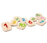 Деревянне цифры 1-10 шрифтом Брайля Plan Тoys