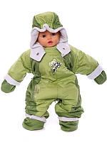 Детский комбинезон трансформер на флисе (Зеленый с оливковым)