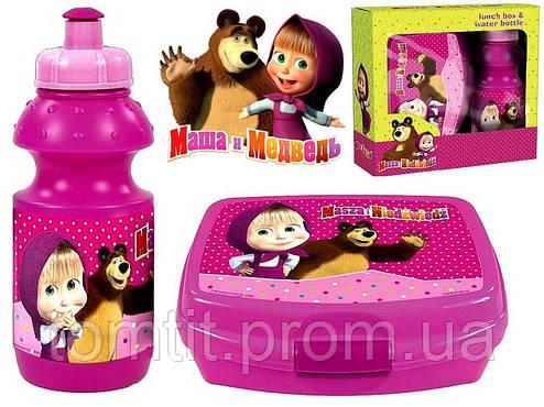 "Набор ""Маша и медведь"" в коробке.  Ланч бокс (ланчбокс) + бутылка, фото 2"