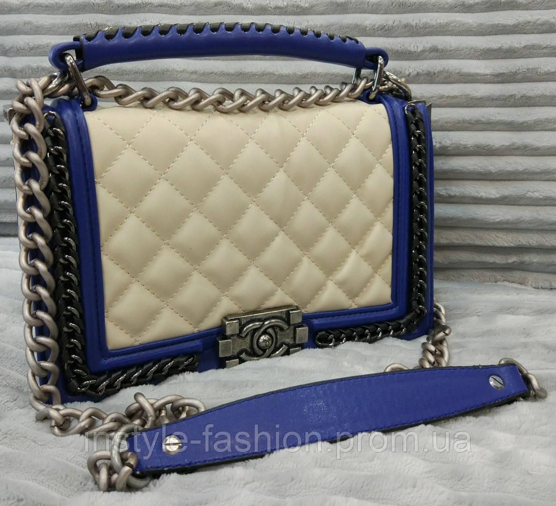 Модная сумка клатч Chanel Шанель на цепочке белая с синим - Сумки брендовые, кошельки, очки, женская одежда InStyle в Одессе