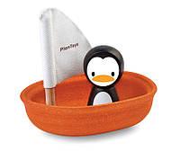 Деревянная игрушка Plan Тoys - Пингвин в лодке паруснике