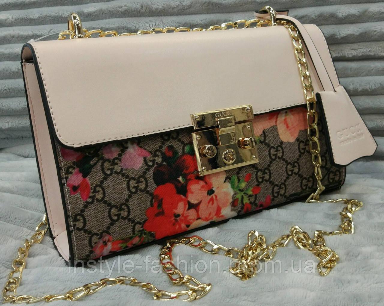 Модная и стильная сумка-клатч Gucci Гуччи цвет бежевый