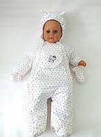 Демисезонный комбинезон для новорожденного (0-6 месяцев) белый в горошек