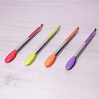 Щипцы нейлоновые 35.5см с ручками из нержавеющей стали Kamille 7516