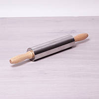 Скалка Kamille Ø5*38см с вращающимся валиком из нержавеющей стали и деревянными ручками 7777