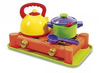 Игрушечная газовая плита Юника с посудкой (0408)