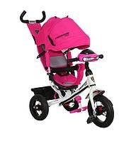 Велосипед детский трехколесный Azimut Trike Crosser One T1 ФАРА (надувные колёса) розовый на серой раме