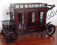 Новый деревяный барный столик-коляска на колесах