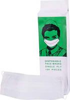 Одноразовые защитные маски на резинке C-50A, 100 шт. (19x7 см)