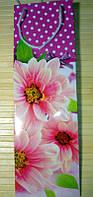 Пакет подарочный под бутылку (12х36х10) Цветы