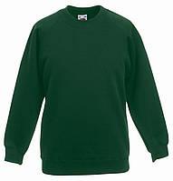 Толстовка детская Classic Kids Raglan Sweat, рост 116 (5-6лет), Тёмно-зелёный (бутылочный), фото 1