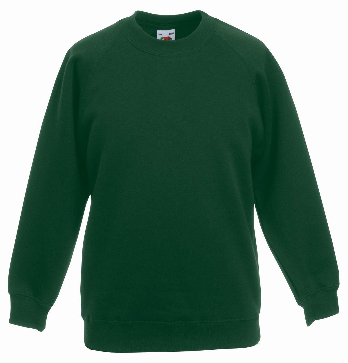 Толстовка детская Classic Kids Raglan Sweat, рост 164 (14-15лет), Тёмно-зелёный (бутылочный)
