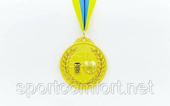 Медаль на стрічці Баскетбол 6,5 см, 40 р, двоколірна
