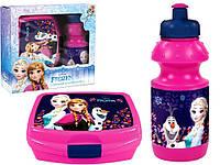 """Набор """"Frozen (Холодное сердце)"""". Контейнер для завтрака (ланч бокс) + бутылка, цвет малиновый"""