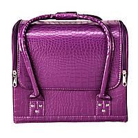Бьюти Кейс для косметики, фиолетовый матовый крокодил, фото 1