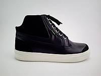 Стильные модные качественные кожаные детские ботинки кеды