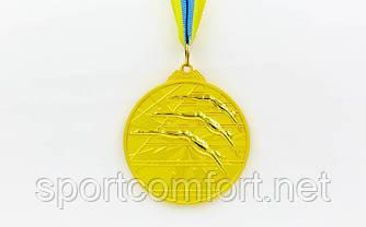 Медаль на стрічці Плавання 6,5 см, 40 р, двоколірна (1, 2, 3 місце)