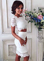Костюм кружевной ,топ+юбка Ресничка (цвета)