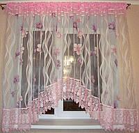 "Штора аркой готовая ""Flower"" с кружевом, розовая 4 м"