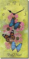 Часы настенные из стекла - бабочки на цветах (немецкий механизм)