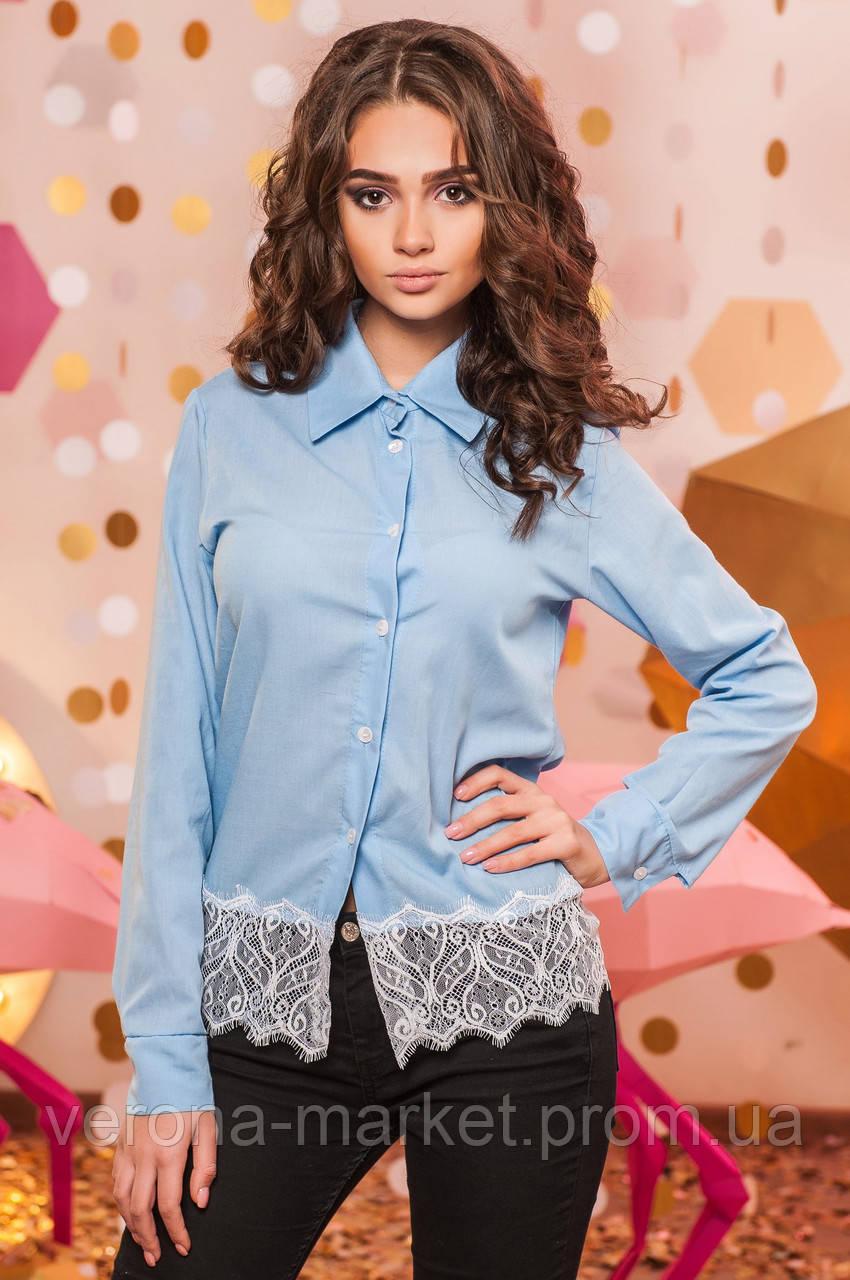 733c1a06de1 Однотонная женская рубашка прямого кроя на пуговицах с длинным рукавом и кружевной  отделкой коттон - Интернет