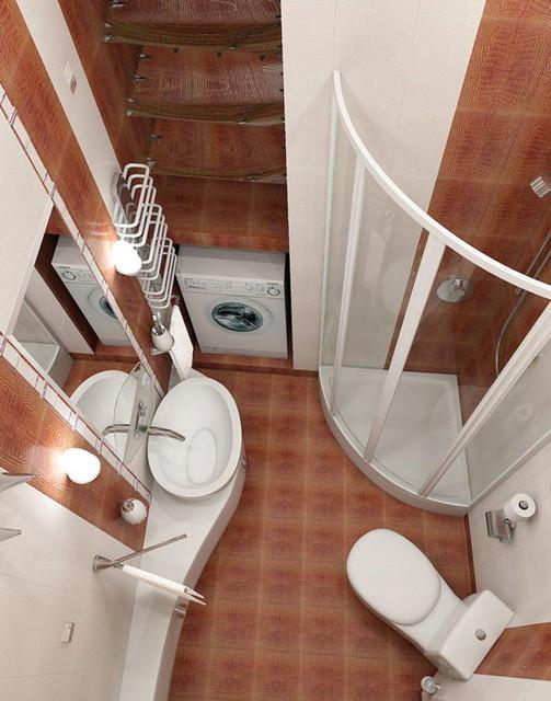 Обыгрываем пространство маленькой ванной комнаты