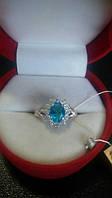 Серебряное кольцо с фианитом Голубой