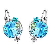 Женские серьги с кристаллами Swarovski Турис 158508 голубые