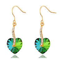 Женские серьги с кристаллами Swarovski Переливы сердец 161562 зелёные
