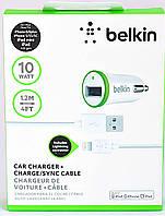 Автомобильная зарядка 1USB  iPhone iPod  IPad MicroUSB кабель+прикурка  2A BELKIN 2928