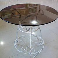 Кованый столик белый с темным стеклом