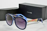 Солнцезащитные очки круглые Prada синие, фото 1