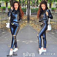 Стильный женский черный кожаный костюм