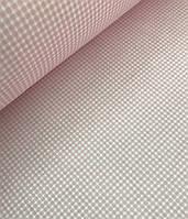Хлопковая ткань польская клетка розовая 2 мм